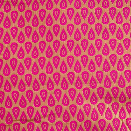 Pink and Golden Brocade Silk Fabric by the yard
