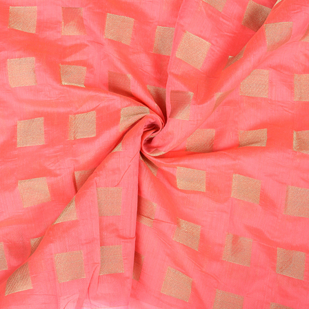 Pink and Golden Chanderi Silk Fabric-9028