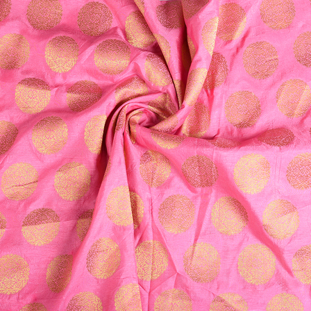 Pink and Golden Circular  Banarasi Brocade Fabric-8621