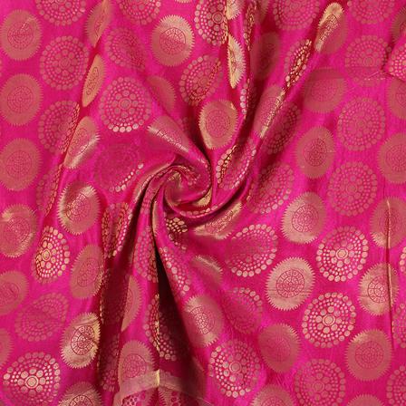 Pink and Golden Circular Brocade Silk Fabric-8841