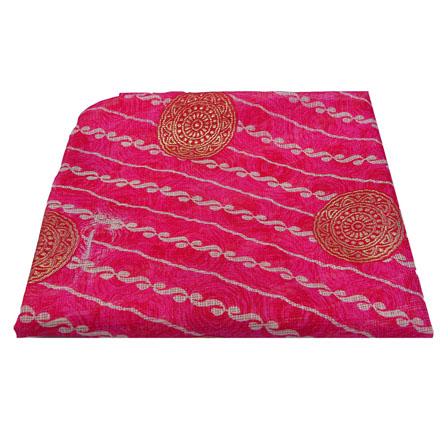 Pink and Golden Circular Pattern Kota Doria Fabric-25014