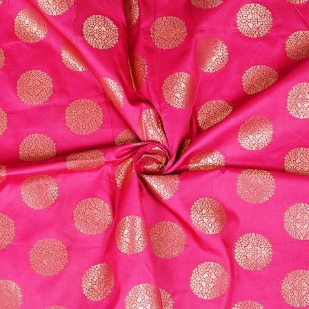 Pink and Golden Circular Pattern Two Tone Banarasi Silk Fabric-8431