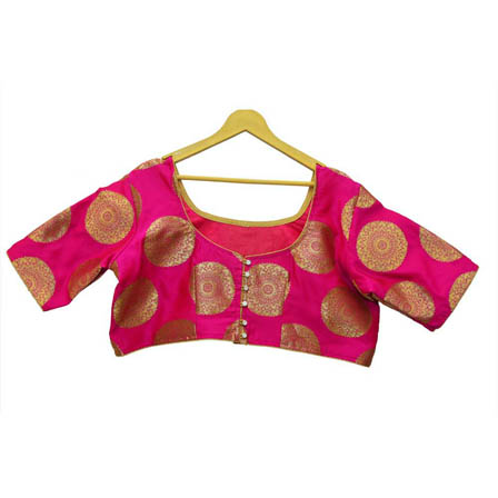 Pink and Golden Circular Silk Brocade Blouse-30123