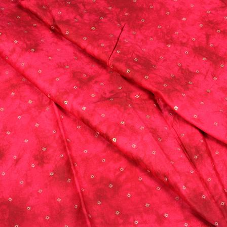 Pink and Golden Design Jam Cotton Silk Fabric-75040