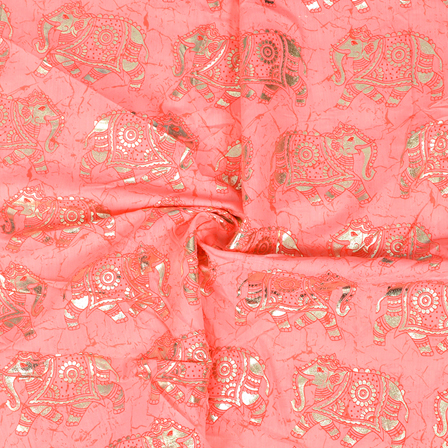 Pink and Silver Elephant Design Chanderi Silk Fabric-9006