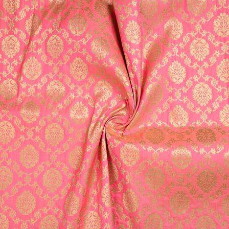 Pink and Golden Floral Brocade Banarasi Fabric-8661