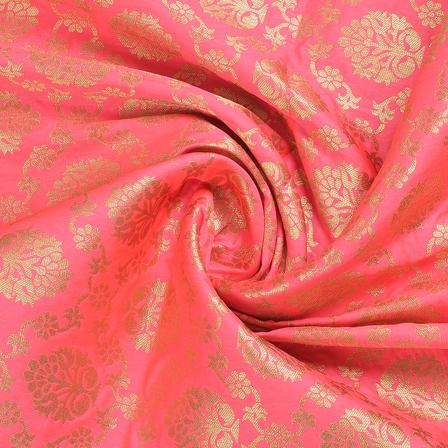 Pink and Golden Floral Brocade Banarasi Fabric-8668
