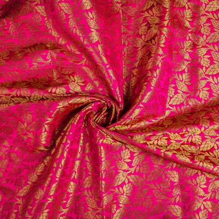 Pink and Golden Floral Brocade Fabric-8551