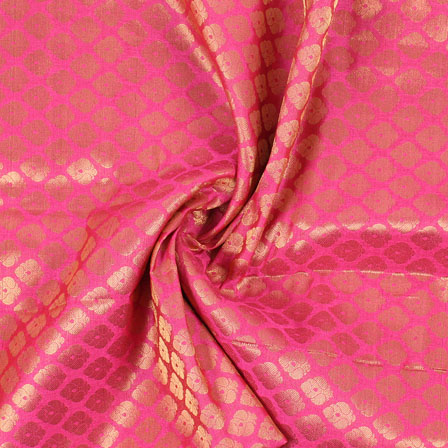Pink and Golden Floral Brocade Silk Fabric-8924