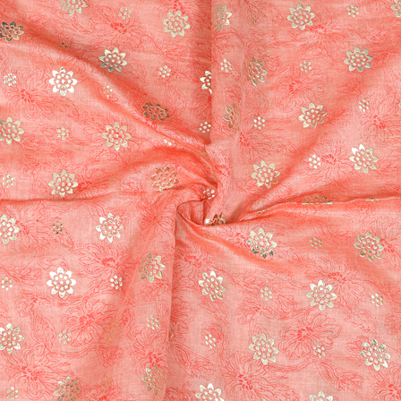 Pink and Silver Floral Design Chanderi Silk Fabric-9018
