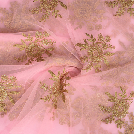 Pink and Golden Floral Design Embroidery Net Fabric-60297