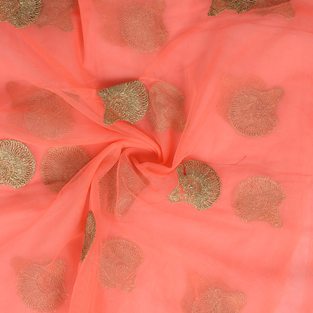 Pink and Golden Floral Design Embroidery Net Fabric-60301