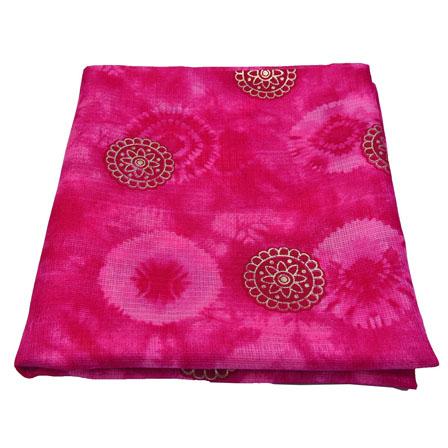Pink and Golden Floral Design Kota Doria Fabric-25010