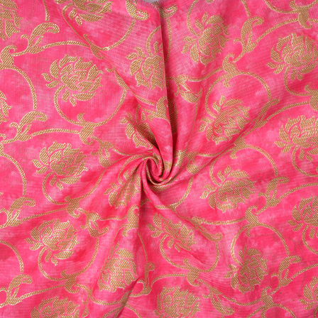 Pink and Golden Floral Design Kota Doria Fabric-25093