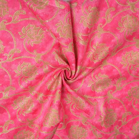 Pink and Golden Floral Design Kota Doria Fabric-25093