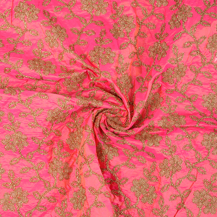 Pink and Golden Floral Design Paper Silk Embroidery Fabric-60614