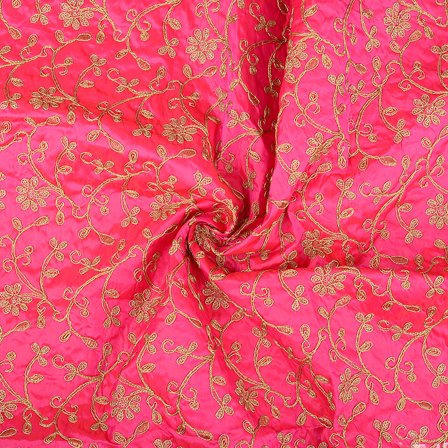 Pink and Golden Floral Design Paper Silk Embroidery Fabric-60616
