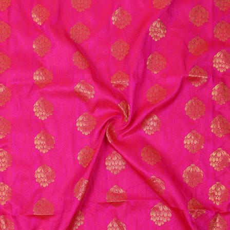 Pink and Golden Floral Design Silk Brocade Fabric-8332