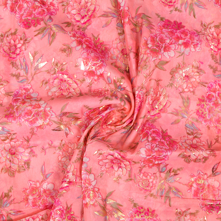 Pink and Golden Floral Design Silk Organza Fabric-50026