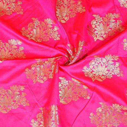 Pink and Golden Floral Design Two Tone Banarasi Silk Fabric-8423