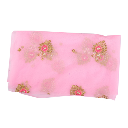 Pink and Golden Floral Embroidery Net Fabric-60517