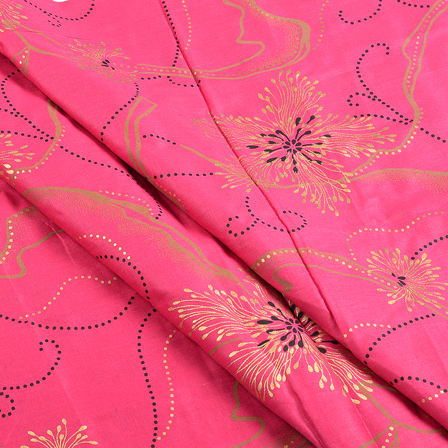 Pink and Golden Floral Jam Cotton Silk Fabric-75101