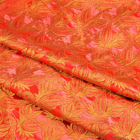 Pink and Golden Floral Kinkhab Banarasi Brocade Fabric-8509