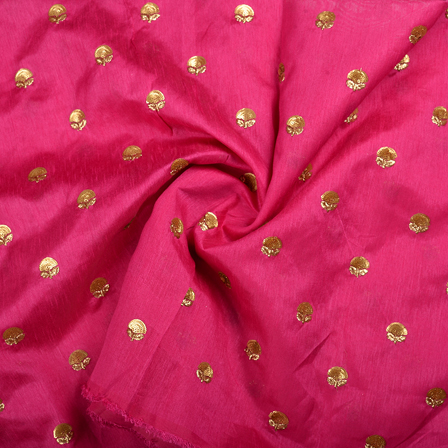 Pink and Golden Floral Malbari Embroidery Silk-60703