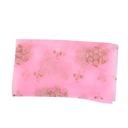 Pink and Golden Floral Net Embroidery Fabric-60495