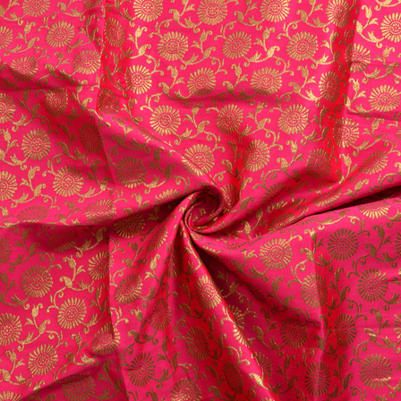 Pink and Golden Floral Pattern Silk Brocade Fabric-8384