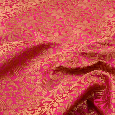 Pink and Golden Floral Shape Brocade Silk Fabric-5361
