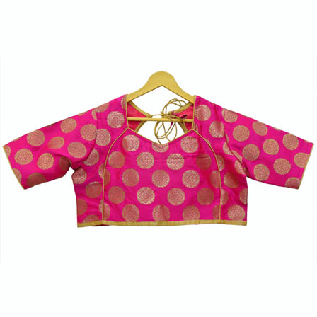 Pink and Golden Floral Silk Brocade Blouse-30115