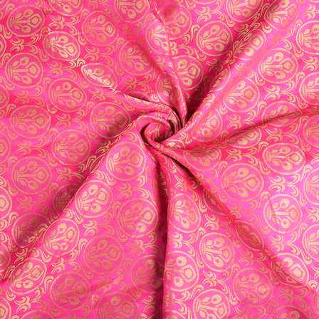 Pink and Golden Floral Silk Brocade Fabric-8614