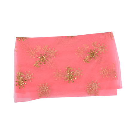 Pink and Golden Floral With Leaf Net Embroidery Fabric-60519