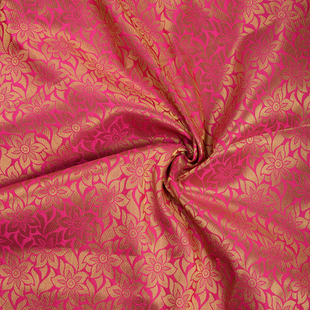 Pink and Golden Flower Brocade Silk Fabric-8545