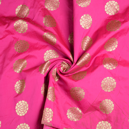 Pink and Golden Flower Brocade Silk Fabric-8575