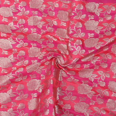 Pink and Golden Flower Brocade Silk Fabric-8856