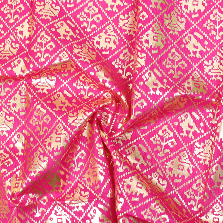 Pink and Golden Flower Design Brocade Silk Fabric-8327