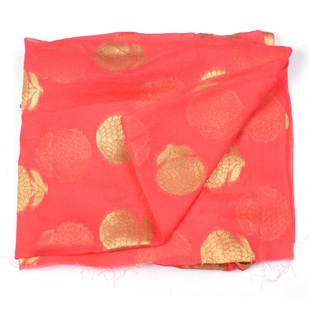 Pink and Golden Flower Design Chiffon Fabric-29030