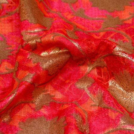 Pink and Golden Flower Design Kota Doria Fabric-6013