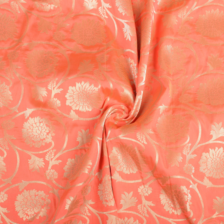 Pink and Golden Flower Design Silk Brocade Fabric-8393