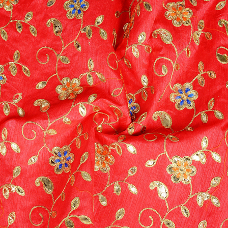 Pink and Golden Flower Design Silk Embroidery Fabric-60286