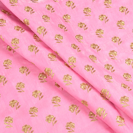 Pink and Golden Flower Design Silk Embroidery Fabric-60398