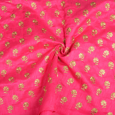 Pink and Golden Flower Design Silk Embroidery Fabric-60399