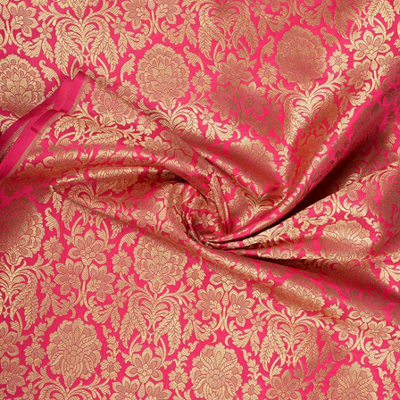 Pink and Golden Flower Design Pure Banarasi Silk Fabric-8472