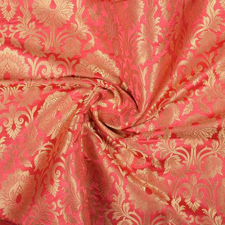 Red and Golden Flower Design Pure Banarasi Silk Fabric-8473