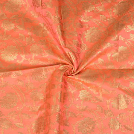 Pink and Golden Flower Design Two Tone Banarasi Silk Fabric-8424