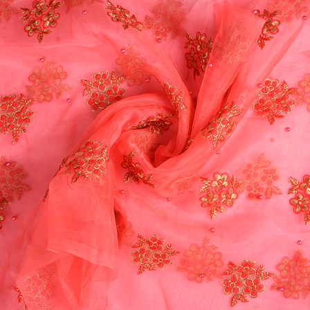 Pink and Golden Flower Organza Embroidery Fabric-51194