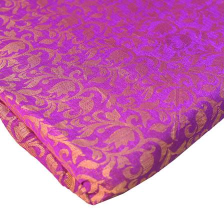 Purple and Golden Flower Pattern Brocade Silk Fabric-8241