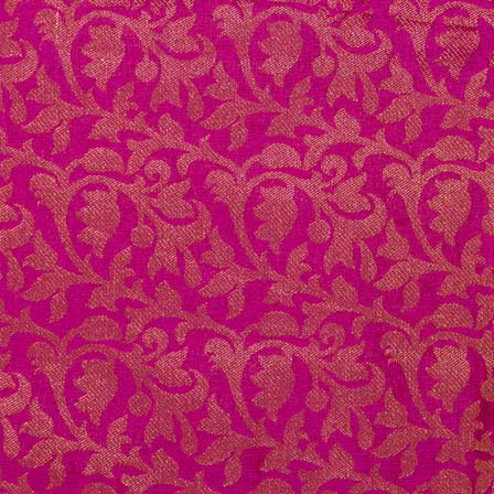 Pink and Golden Flower Pattern Brocade Silk Fabric by the yard